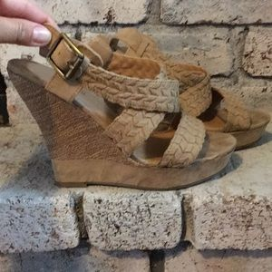 Call It Spring tan wedge sandals